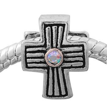 Silver Plated (186) Cross Shape Charm, will fit Pandora/Troll/Chamilia Style Charm Bracelet.