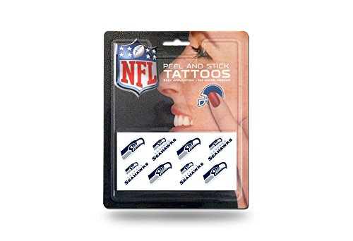 Seattle Seahawks Official NFL 1 inch x 1 inch 8 Piece Temporary Tattoo Set by Rico Industries