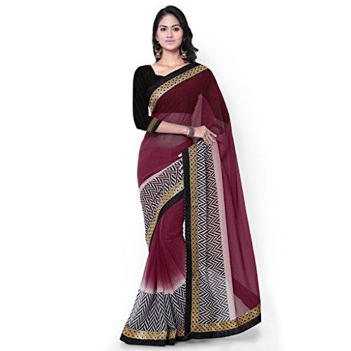 Sourbh Sarees Women's Wine Chiffon Party Wear Geometric Print Saree