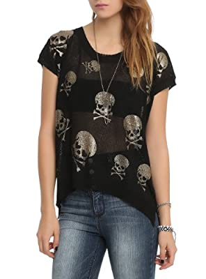 Black Skull Hi-Lo Top by Hot Topic