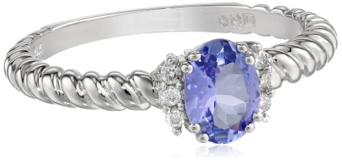 White-Gold Diamond and Tanzanite Ring (0.06cttw, G-H Color, I1-I2 Clarity), Size 6