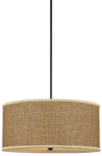 Quoizel ZE2822K Zen 50-Inch 4-Lights Pendant with Rattan Shade, Mystic Black