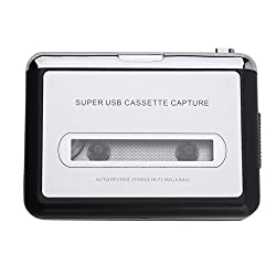 Lychee Ezcap Portable USB2.0 Cassette Capture Player Convert Tape-to-MP3 Auto Reverse Stereo Hi-fi Mega Bass Music to Your PC