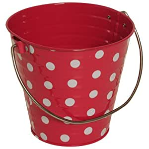 Hot Pink with Small White Dots Small Colorful Metal Pail Buckets - Sold individually