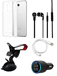Car Charger Headphone Back Cover USB Cable Mobile Holder combo for Redmi Note 3