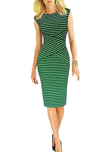 Viwenni Women's Summer Striped Sleeveless Wear to Work Casual Party Pencil Dress,Green,X-Large