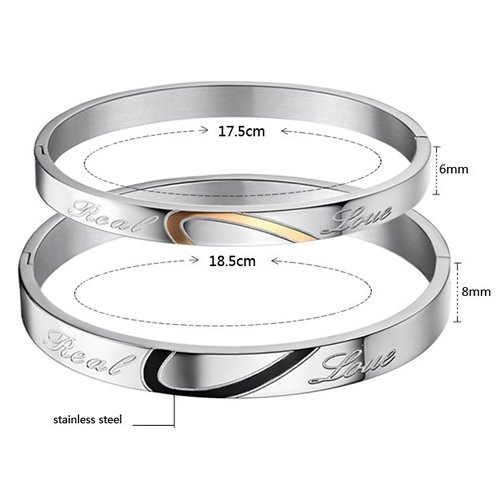 Konov Jewellery 2pcs Lover's Mens Womens Heart Shape Stainless Steel Couples Bangle Cuff Bracelet, Colour Black Gold Silver, 1 Pair (with Gift Bag)