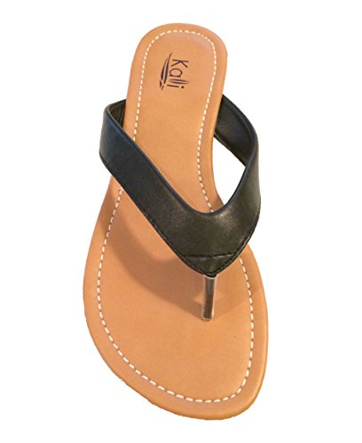 Kali Footwear Womens Cocoa Flat Thong Sandals, Black 7