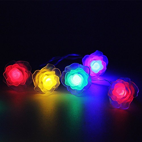 Path Lights Sunniemart 40 Led Multi Colored Rose Battery Operated String Lights