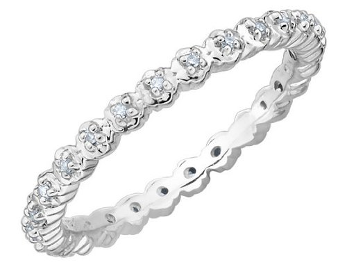 Diamond Eternity Ring in Sterling Silver, Size 6