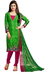 Lovely Look Green Printed Dress Material