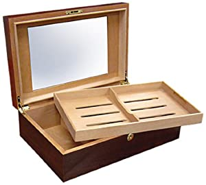 Prestige Import Group 120 Ct. Walnut Humidor w/ Tray & Raised Frame Glasstop