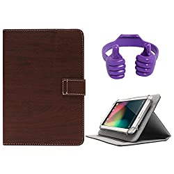 DMG Protective 7in Flip Book Cover Case for Lenovo A3500-HV/A7-50 (Brown) + Tablet Holder Hand Stand