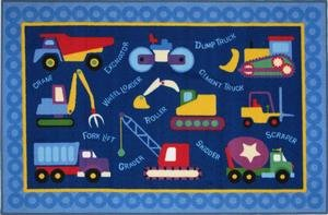 Under Construction Kids Area Rug blue with construction equipment