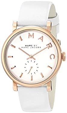 buy Marc By Marc Jacobs Women'S Mbm1283 Baker Rose-Tone Stainless Steel Watch With White Leather Band
