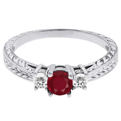 0.58 Ct Round Red Ruby White Topaz 18K White Gold 3-Stone Ring