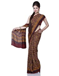 Chhabra555 Brown Crepe Printed Saree