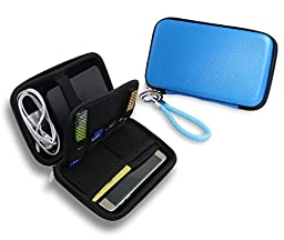 ZHPUAT Portable External Hard Drive Case, PU Leather Shockproof Carrying Case + Key Ring with Attached Lanyard - Blue