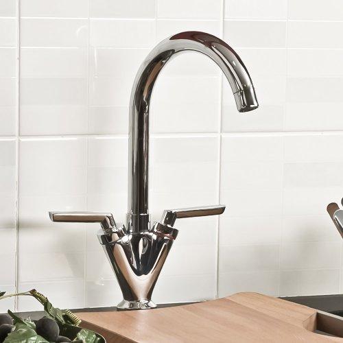 Modern Kitchen Sink Mixer Tap Chrome Twin Lever Monobloc RENO