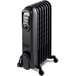 DeLonghi TRD0715T Safeheat 1500W Portable Oil-Filled Radiator with Vertical Thermal Tunnels by Delonghi