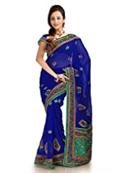 Designersareez Women Chiffon Embroidered Royal Blue Saree With Unstitched Blouse(1152)