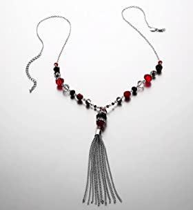 Assorted Multi-Faceted Bead Tassel Necklace