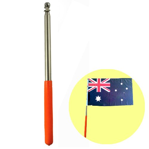 """Nava 1Pc 47"""" Stainless Steel Telescoping Flagpole Banner Tour Guide Teachers Flag Sign Collapsable Pole"""