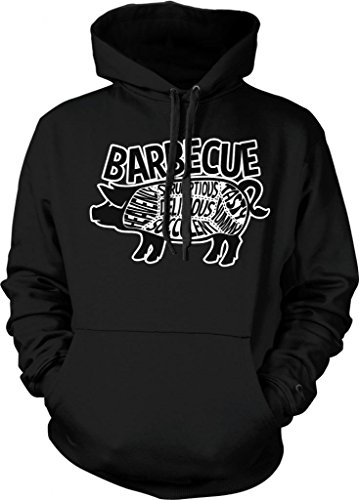 Barbecue Pig Parts Hooded Sweatshirt, Tasty, Yummy, Delicious, Heavenly, Succulent, Scrumptious, Parts Of Pig BBQ Design Hoodie (Black, Medium)