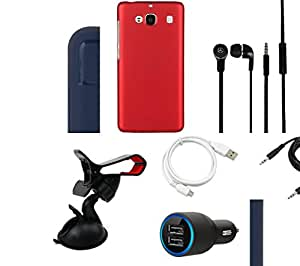 NIROSHA Cover Case Car Charger Headphone USB Cable Mobile Holder car Combo for Xiaomi Redmi 2s Combo