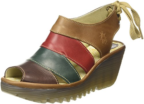 Fly LondonYown - Sandali donna , Multicolore (Multicolor (Dk Brown/Petrol/Red/Camel)), 39