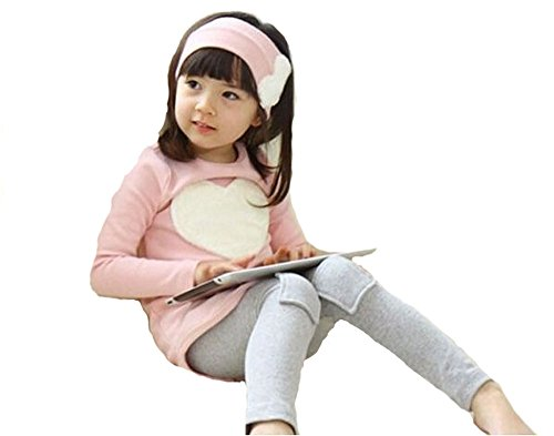 2014 Fashion Children Clothing Set,Girl Wear 3 Pcs Suit: Headband+Shirt+Pants Gq-013 (6T(130), Pink)