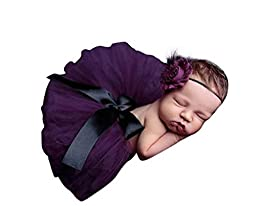 Lovinglove Baby Girls Cute Bunny Skirt Feather Lace Suit and Elastic Headband Gift Set (Purple)