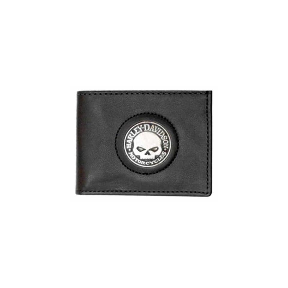 Harley Davidson Men's Black Leather Skull Medallion Bi fold Wallet. FB329H Clothing