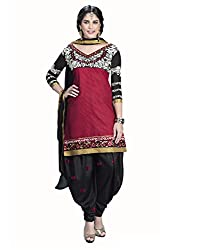 Lookslady Embroidered Red Cotton Salwar Suit