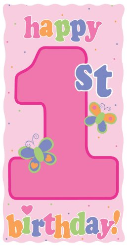 Creative Converting Party Decoration Diecut Sign, Fun at One 1st Birthday Girl
