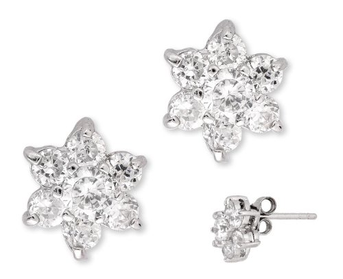 Round Simulated C.Z. Diamond Silver Flower Stud Earrings