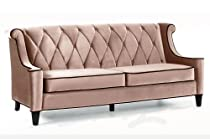 Big Sale Armen Living Barrister Velvet Sofa in Caramel