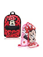 BACK TO SCHOOL Mochila x 2 Minnie (Rojo)