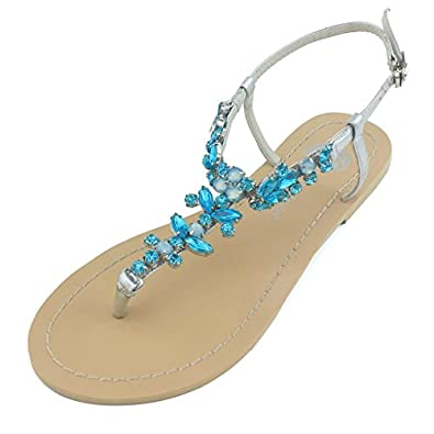 Amazon Bella Belle Womens Selvie Something Blue Beach Wedding Sandals Shoes