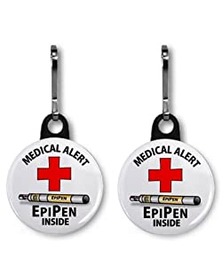 MEDICAL ALERT EPIPEN INSIDE 2-Pack 1 Zipper Pull Charms from Creative Clam