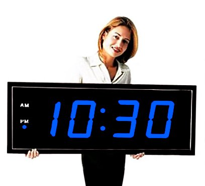 """Large Digital Led Clock - Giant 8"""" Numeral Blue Led Wall Clock With Remote Control"""