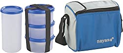 Nayasa Nebula Plastic Lunch Box, 4-Pieces, Blue