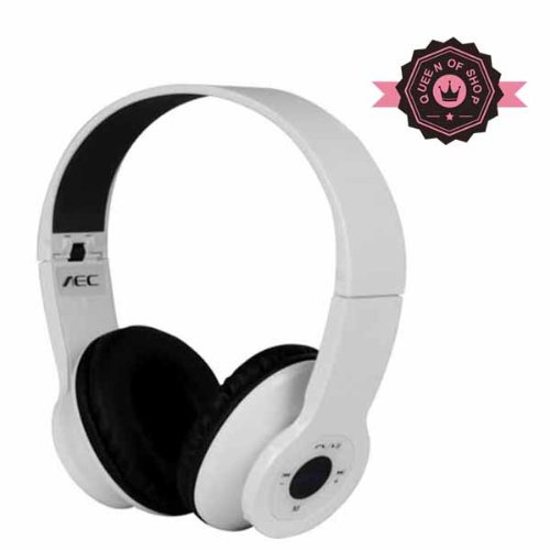 Bq605 White Wireless Bluetooth Stereo Headphones With Built-In Mic For Ios And Android (A2Dp) Support Tf Card And Fm Raido