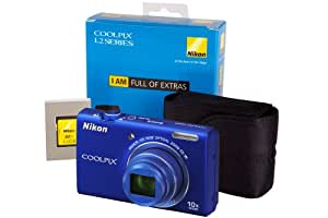 Nikon Coolpix S6200 Camera Kit with 4GB SD Card and Nikon Case - Blue