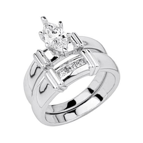 .925 Sterling Silver CZ Ladies Wedding Engagement Ring and Matching Band 2 Pieces Set - Size 9