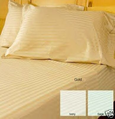 Stripes Gold 300 Thread Count Twin Extra Long Size Sheet Set 100 % Egyptian Cotton 3Pc Bed Sheet Set (Deep Pocket)Twin Xl By Sheetsnthings front-326397