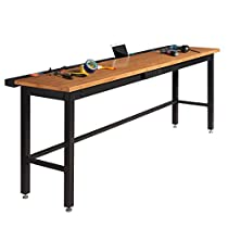 NewAge Products Workbench with Bamboo Work Top and Power Bar, 96