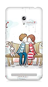 Amez designer printed 3d premium high quality back case cover for Asus Zenfone 6 (Sweet couple on bench)