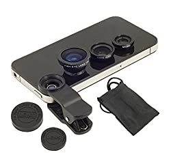 Captcha 3 in 1 Universally Compatible with any Smart Phone Camera Lens(Macro+Fish Eye+Wide Angle Lens (Promotional Offer - Free Carry Pouch)