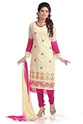 Ethnic For You Women's Cotton Salwar Suit Dress Material(ETH5873_Cream)